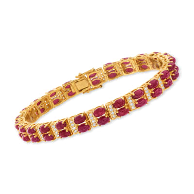 17.00 ct. t.w. Ruby and .70 ct. t.w. White Zircon Double-Row Tennis Bracelet in 18kt Gold Over Sterling