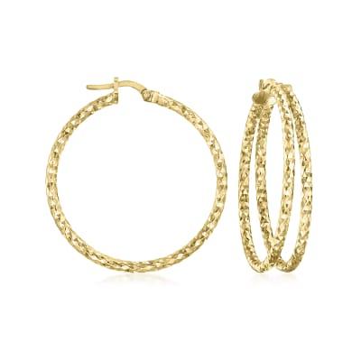 Italian 18kt Gold Over Sterling Diamond-Cut Double-Hoop Earrings