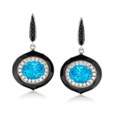 5.25 ct. t.w. Swiss Blue Topaz, .90 ct. t.w. White Zircon and .20 ct. t.w. Black Spinel Drop Earrings in Sterling Silver with Black Enamel