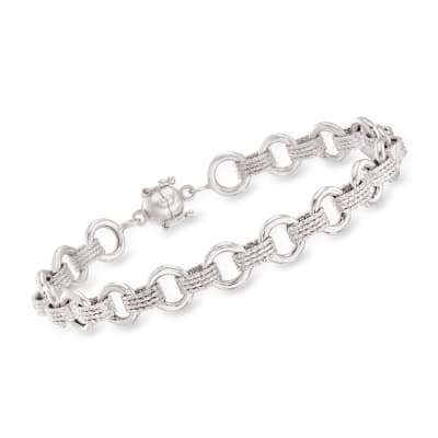 Sterling Silver Textured and Polished Circle-Link Bracelet with Magnetic Clasp