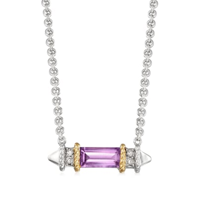 "Andrea Candela ""La Romana"" .48 Carat Amethyst Necklace in Sterling Silver and 18kt Yellow Gold"