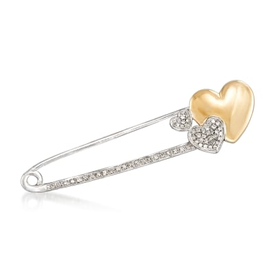 .15 ct. t.w. Diamond Heart Safety Pin in Sterling Silver and 14kt Yellow Gold