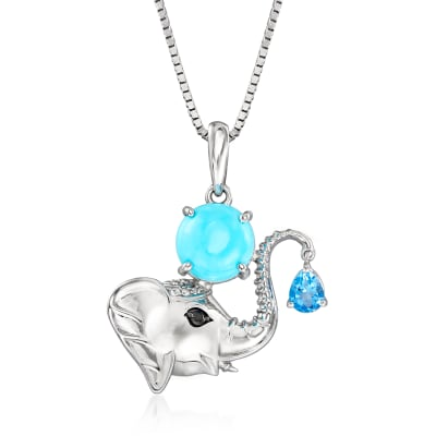 Turquoise and .40 Carat Swiss Blue Topaz Elephant Pendant Necklace in Sterling Silver