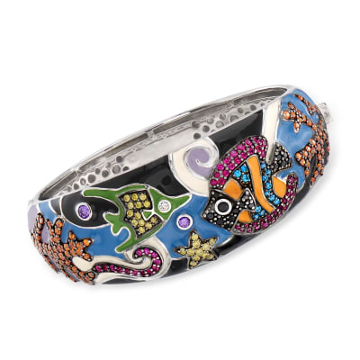 "Belle Etoile ""Under the Sea"" Multicolored Enamel and 4.35 ct. t.w. CZ Bangle Bracelet in Sterling Silver"