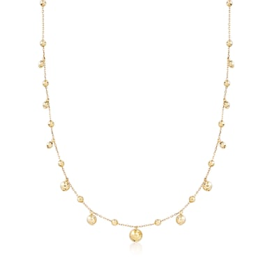 14kt Yellow Gold Bead Drop Station Necklace