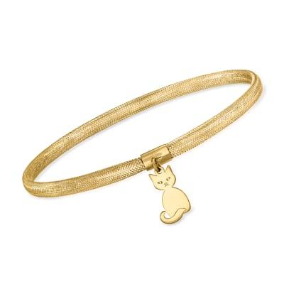 Italian 14kt Yellow Gold Mesh Cat Charm Bracelet