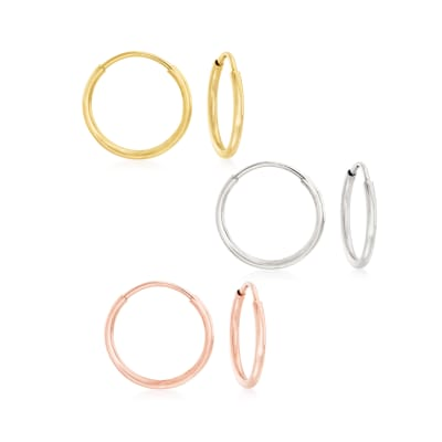 14kt Tri-Colored Gold Jewelry Set: Three Pairs of 1mm Endless Hoop Earrings