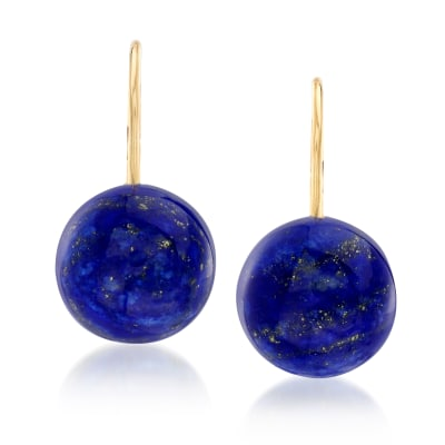 Lapis Drop Earrings in 14kt Yellow Gold