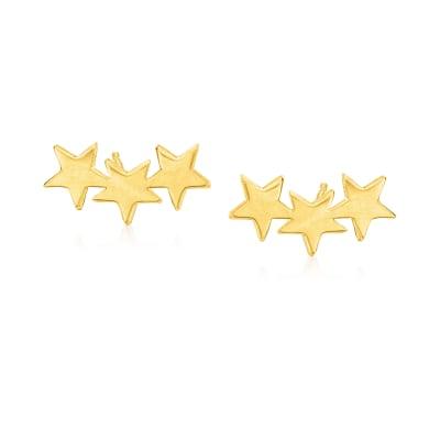 14kt Yellow Gold Star Ear Climbers