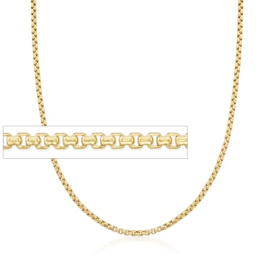 2.4mm 14kt Yellow Gold Box Chain Necklace