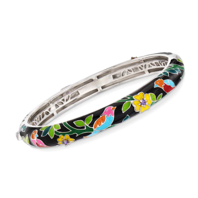 "Belle Etoile ""Song Bird"" Multicolored Enamel Slim Bangle Bracelet with CZ Accents in Sterling Silver"