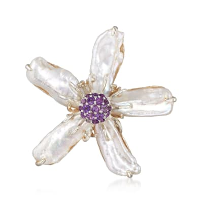 20-22mm X 8-11mm Cultured Baroque Pearl Flower Pin with .80 ct. t.w. Amethysts in Sterling
