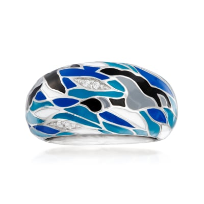 "Belle Etoile ""Migration"" Enamel Ring in Sterling Silver"