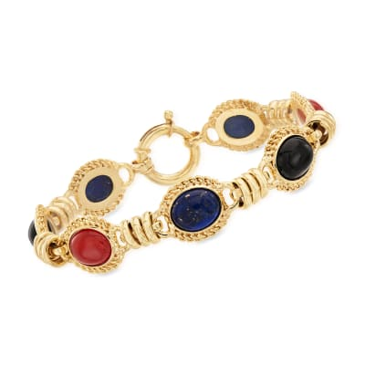 Black Onyx, Lapis and Orange Agate Station Bracelet in 18kt Gold Over Sterling