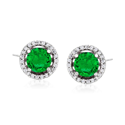 1.60 ct. t.w. Simulated Emerald and .20 ct. t.w. CZ Earrings in Sterling Silver