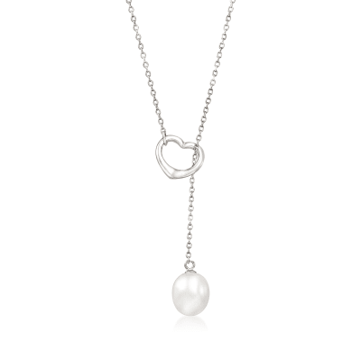 9-10mm Cultured Pearl Heart Lariat Necklace in Sterling Silver