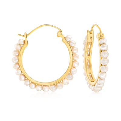 3-3.5mm Cultured Pearl Hoop Earrings in 18kt Gold Over Sterling