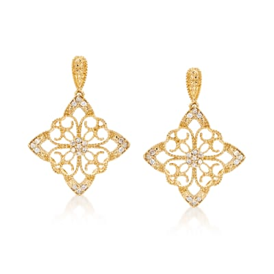.25 ct. t.w. Diamond Floral Filigree Drop Earrings in 18kt Gold Over Sterling
