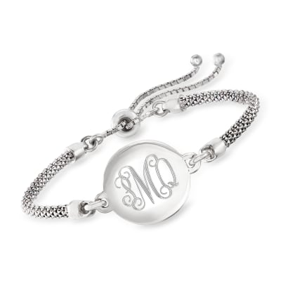 Sterling Silver Personalized Disc Popcorn Chain Bolo Bracelet