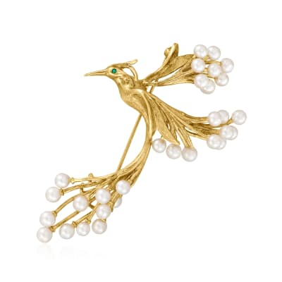 C. 1980 Vintage 3.5mm Cultured Pearl Bird Pin with Emerald Accent in 18kt Yellow Gold