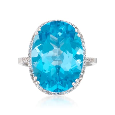 14.50 Carat Blue Topaz Ring with .20 ct. t.w. Diamonds in 14kt White Gold