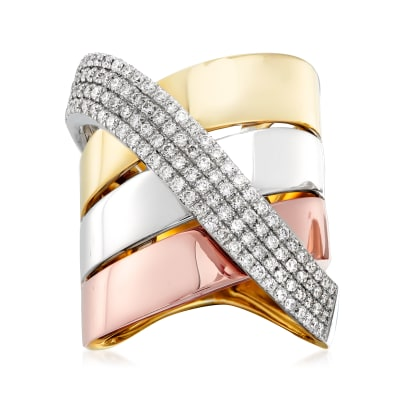 1.00 ct. t.w. Diamond Sash Ring in 14kt Tri-Colored Gold