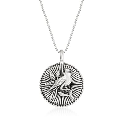 Sterling Silver Cardinal Disc Pendant Necklace