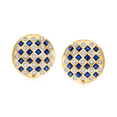 C. 1980 Vintage 3.20 ct. t.w. Sapphire and 1.05 ct. t.w. Diamond Earrings in 18kt Yellow Gold