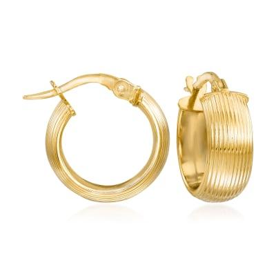 Italian 14kt Yellow Gold Huggie Hoop Earrings