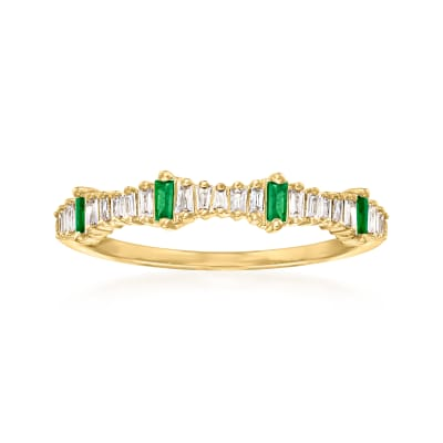 .14 ct. t.w. Diamond and .10 ct. t.w. Emerald Stackable Ring in 14kt Yellow Gold