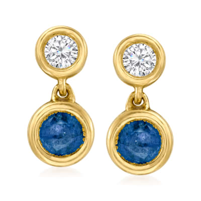.50 ct. t.w. Sapphire and .25 ct. t.w. Diamond Drop Earrings in 14kt Yellow Gold