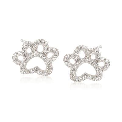 .15 ct. t.w. Diamond Open Paw Print Stud Earrings in Sterling Silver