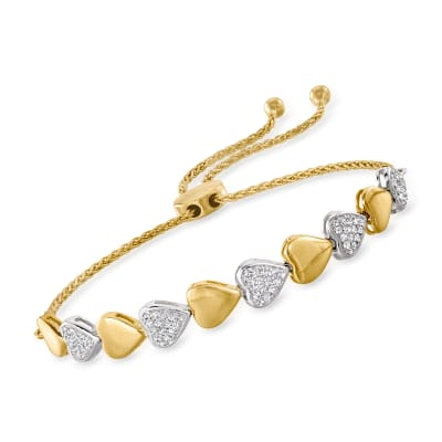 .50 ct. t.w. Diamond Heart Bolo Bracelet in Two-Tone Sterling Silver