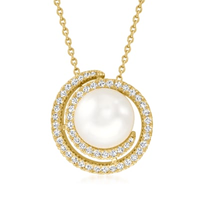 12mm Shell Pearl and .70 ct. t.w. CZ Swirl Pendant Necklace in 18kt Gold Over Sterling