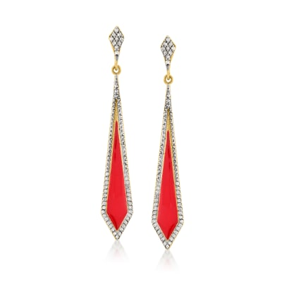 .50 ct. t.w. Diamond and Red Enamel Kite-Shaped Drop Earrings in 18kt Gold Over Sterling