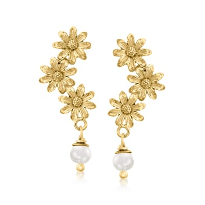 Italian 5x5.5mm Cultured Pearl Daisy Drop Earrings in 18kt Gold Over Sterling