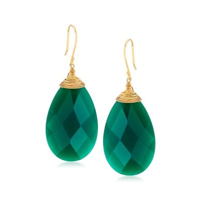 Green Chalcedony Drop Earrings in 18kt Gold Over Sterling