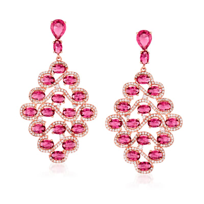 3.00 ct. t.w. Simulated Ruby and 4.90 ct. t.w. CZ Drop Earrings in 18kt Rose Gold Over Sterling