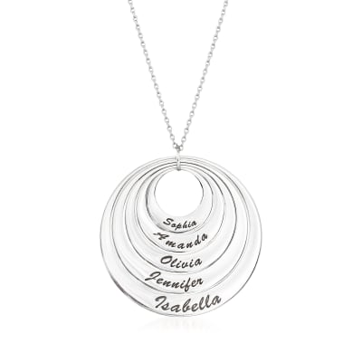 Sterling Silver Five-Name Multi-Disc Pendant Necklace