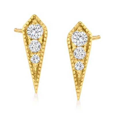 .10 ct. t.w. Diamond Icicle Earrings in 18kt Gold Over Sterling