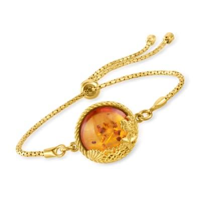 Amber Sea Life Bolo Bracelet in 18kt Gold Over Sterling