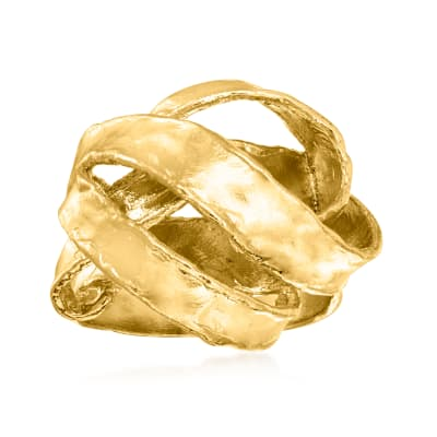 18kt Gold Over Sterling Textured and Polished Ribbon Ring