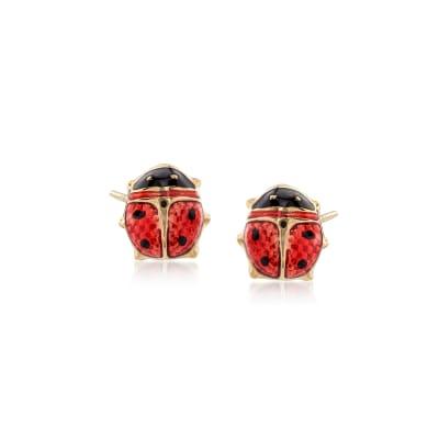 Child's Red Enamel Ladybug Stud Earrings in 14kt Yellow Gold