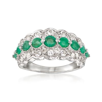 1.05 ct. t.w. Emerald and .86 ct. t.w. White Topaz Ring in Sterling Silver