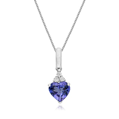 2.40 Carat Tanzanite and .12 ct. t.w. Diamond Heart Pendant Necklace in 14kt White Gold