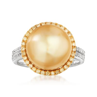 11-12.5mm Champagne Cultured South Sea Pearl Ring with Yellow and White Diamonds in 18kt Yellow Gold