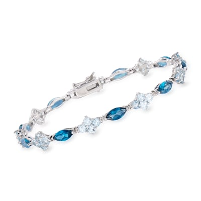 9.35 ct. t.w. London and Sky Blue Topaz Tennis Bracelet in Sterling Silver