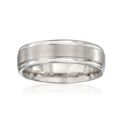 Men's 6mm 14kt White Gold  Wedding Ring