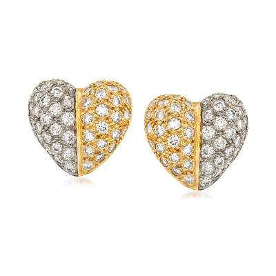 C. 1980 Vintage 5.00 ct. t.w. Diamond Heart Earrings in 18kt Two-Tone Gold