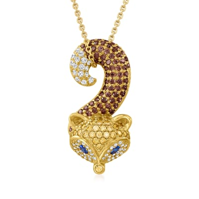 2.20 ct. t.w. Multicolored CZ Fox Pendant Necklace with Simulated Sapphire Accents in 18kt Gold Over Sterling